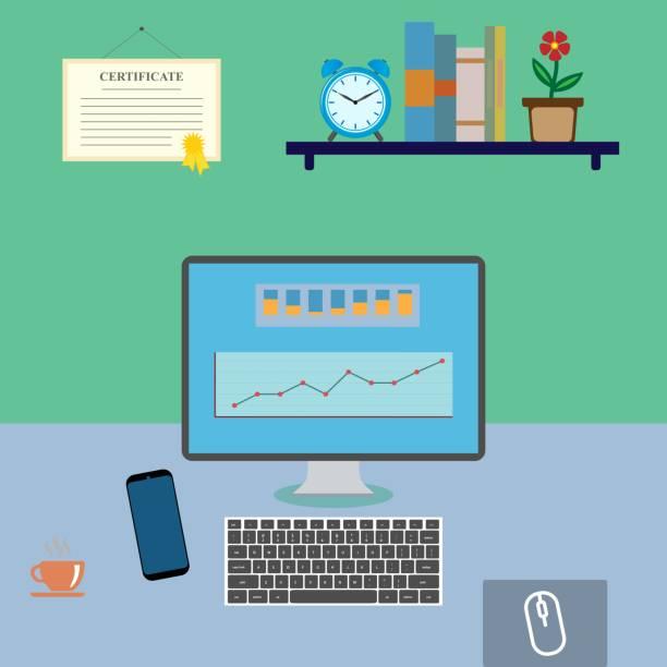 bürotisch mit computer, handy und einer tasse kaffee - mauspad stock-grafiken, -clipart, -cartoons und -symbole