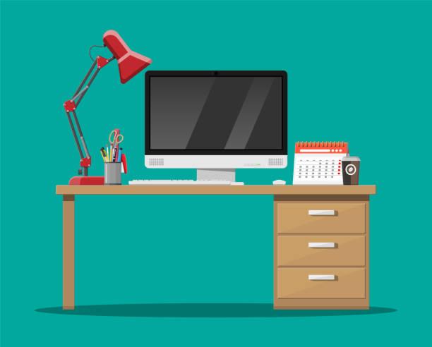 bildbanksillustrationer, clip art samt tecknat material och ikoner med office skrivbord med dator - byrålåda