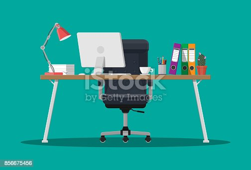 Office desk with computer, chair, lamp, coffee cup, cactus and document papers. Modern business workplace. Vector illustration in flat style