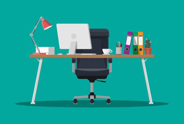 ilustrações, clipart, desenhos animados e ícones de escritório com computador - carteira