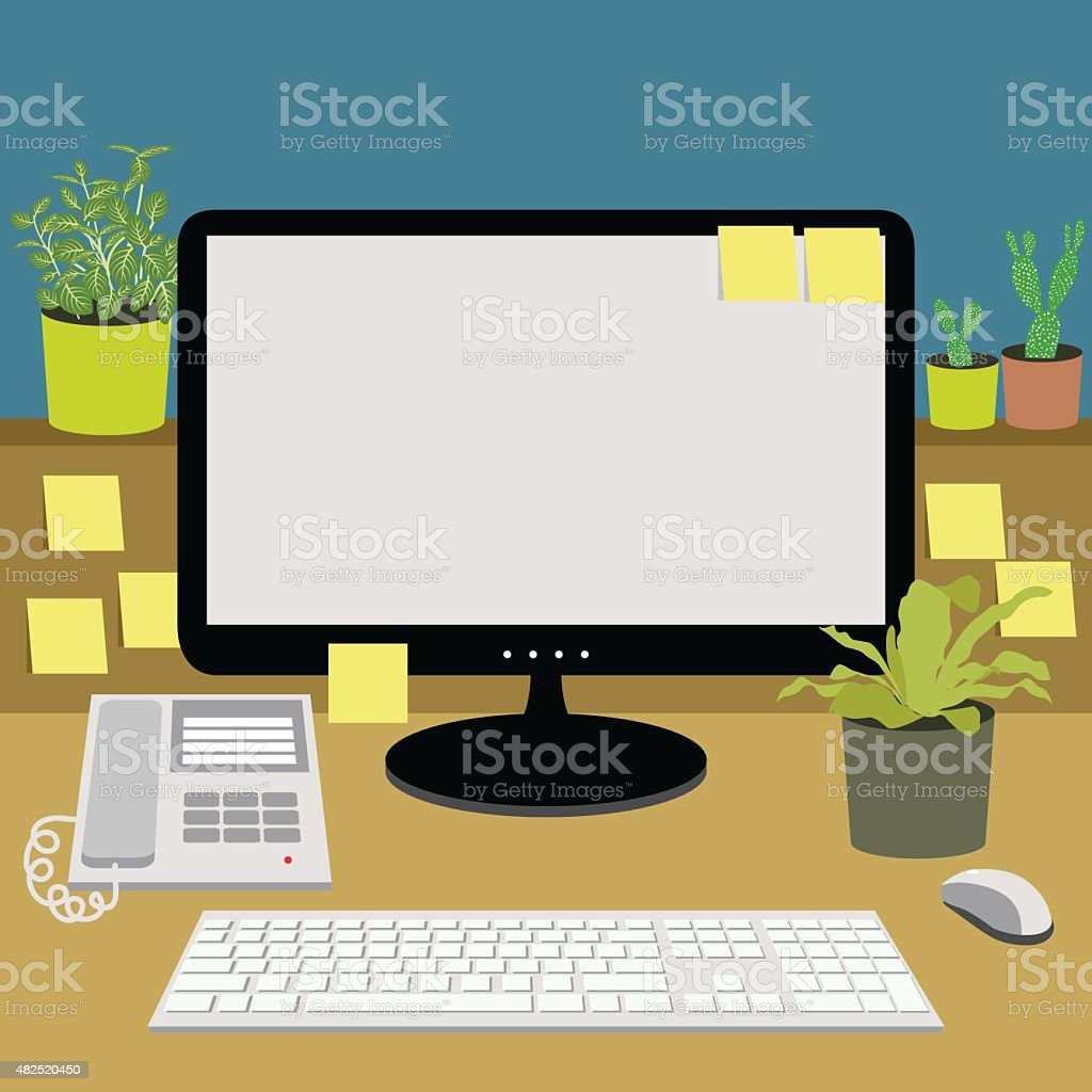office desk with telephone, computer, keyboard and plants, vector illustration vector art illustration