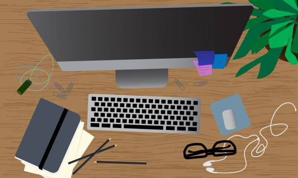 ilustrações de stock, clip art, desenhos animados e ícones de office desk workplace with computer, papers, clips, pendrive, glasses and pencils on wooden table. top view. - top view, wood table, empty
