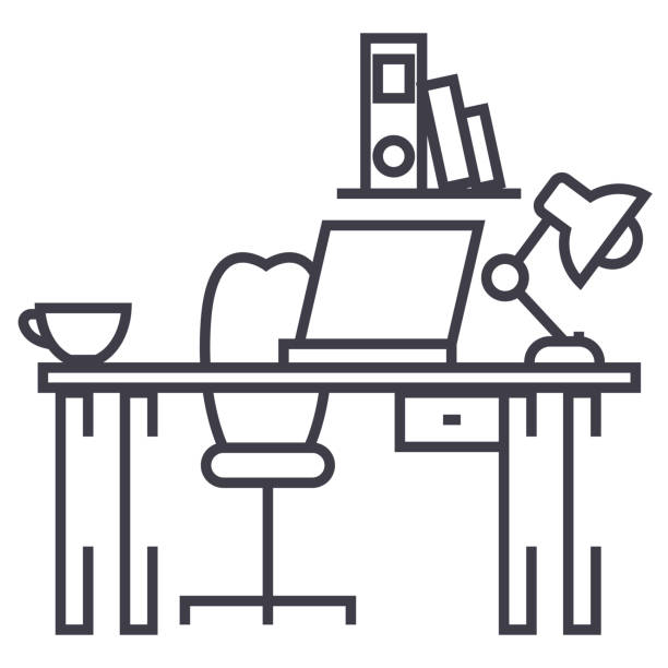 School Desk Wooden Table. Office Furniture Vector Illustration Royalty Free  Cliparts, Vectors, And Stock Illustration. Image 78974366.