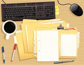 Vector image of a typical office desktop, featuring; a stack of document files (plenty of copy space), a computer keyboard, mouse, coffee cup, pens and paper.