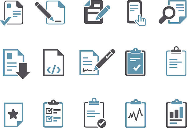 Office docs Icon Set Vector icons pack - Blue Series, office docs collection. form document stock illustrations