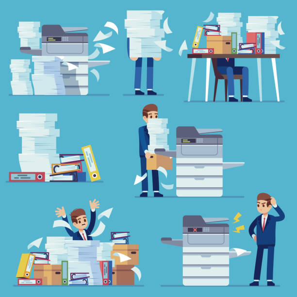 Office documents copier. Printer printing office papers, man with broken photocopier. Lot of paperwork and bureaucracy flat vector set Office documents copier. Printer printing office papers, man with broken photocopier. Lot of paperwork and bureaucracy flat vector business unorganized working problems set samenwerking stock illustrations