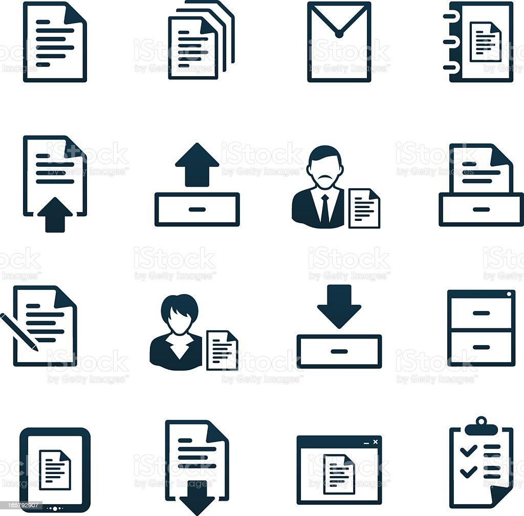Office Documents Icons | black series vector art illustration