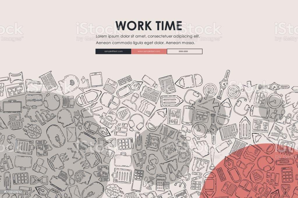 Plantilla De Diseño De Sitio Web De La Oficina Garabato - Arte ...