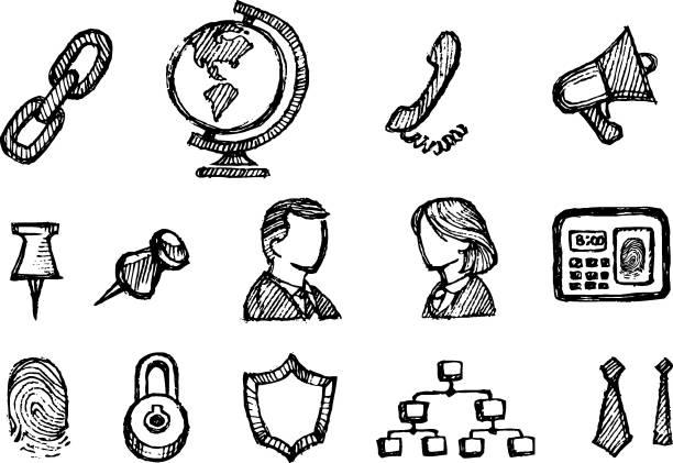 bildbanksillustrationer, clip art samt tecknat material och ikoner med office doodles group - chain studio