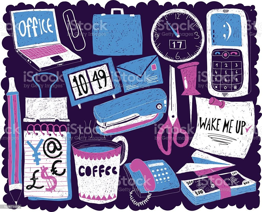 Office doodles set royalty-free office doodles set stock vector art & more images of 'at' symbol
