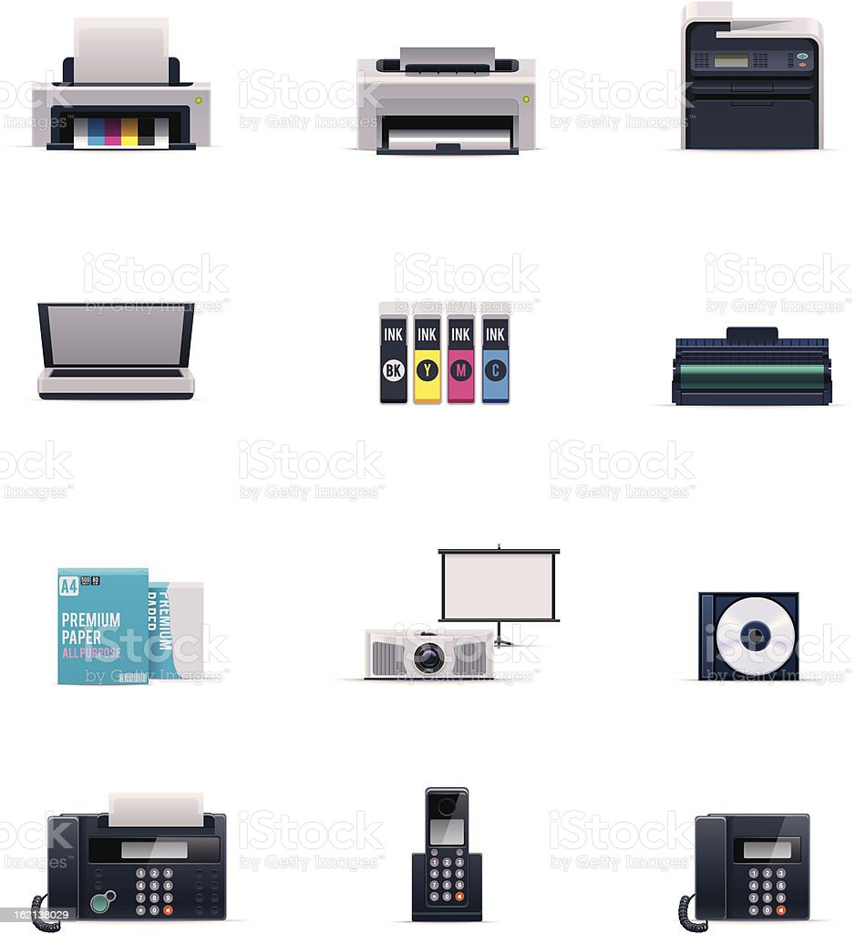 Office electronics icon set vector art illustration