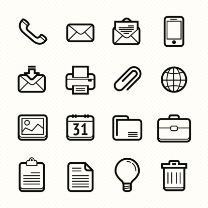 Office elements line icon set #Vector illustration