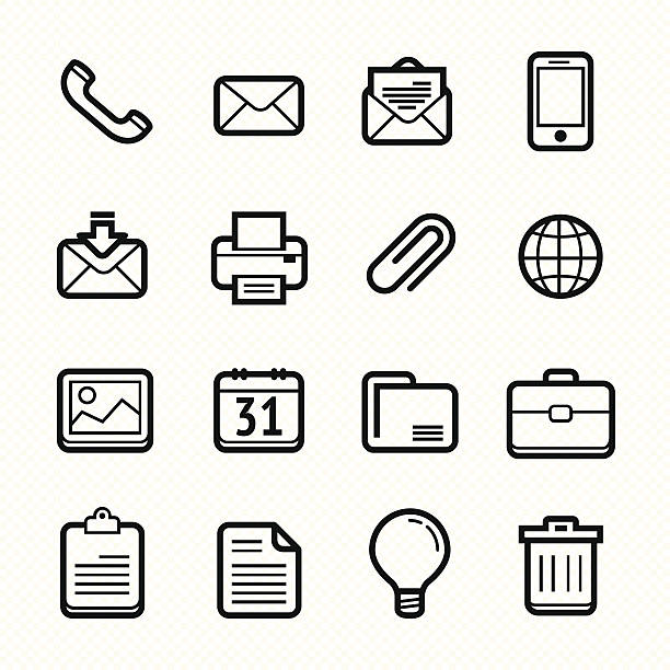 stockillustraties, clipart, cartoons en iconen met office elements line icon set #vector illustration - orthografisch symbool