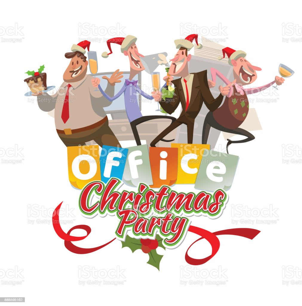 Office Emblem Christmas Party With Four Dancing Men Stock Vector Art ...