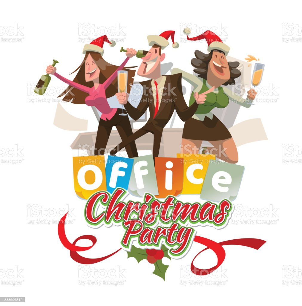 Office Emblem Christmas Party With Two Women And Man Stock Vector ...