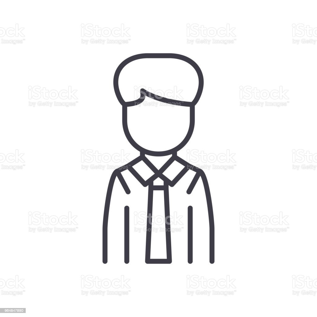 Office employee black icon concept. Office employee flat  vector symbol, sign, illustration. royalty-free office employee black icon concept office employee flat vector symbol sign illustration stock vector art & more images of adult