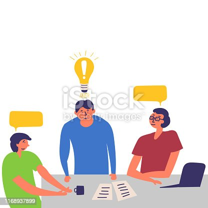 istock Office employees are holding a meeting. They are looking for a solution to the problem and are negotiating. Idea. Brainstorm 1168937899