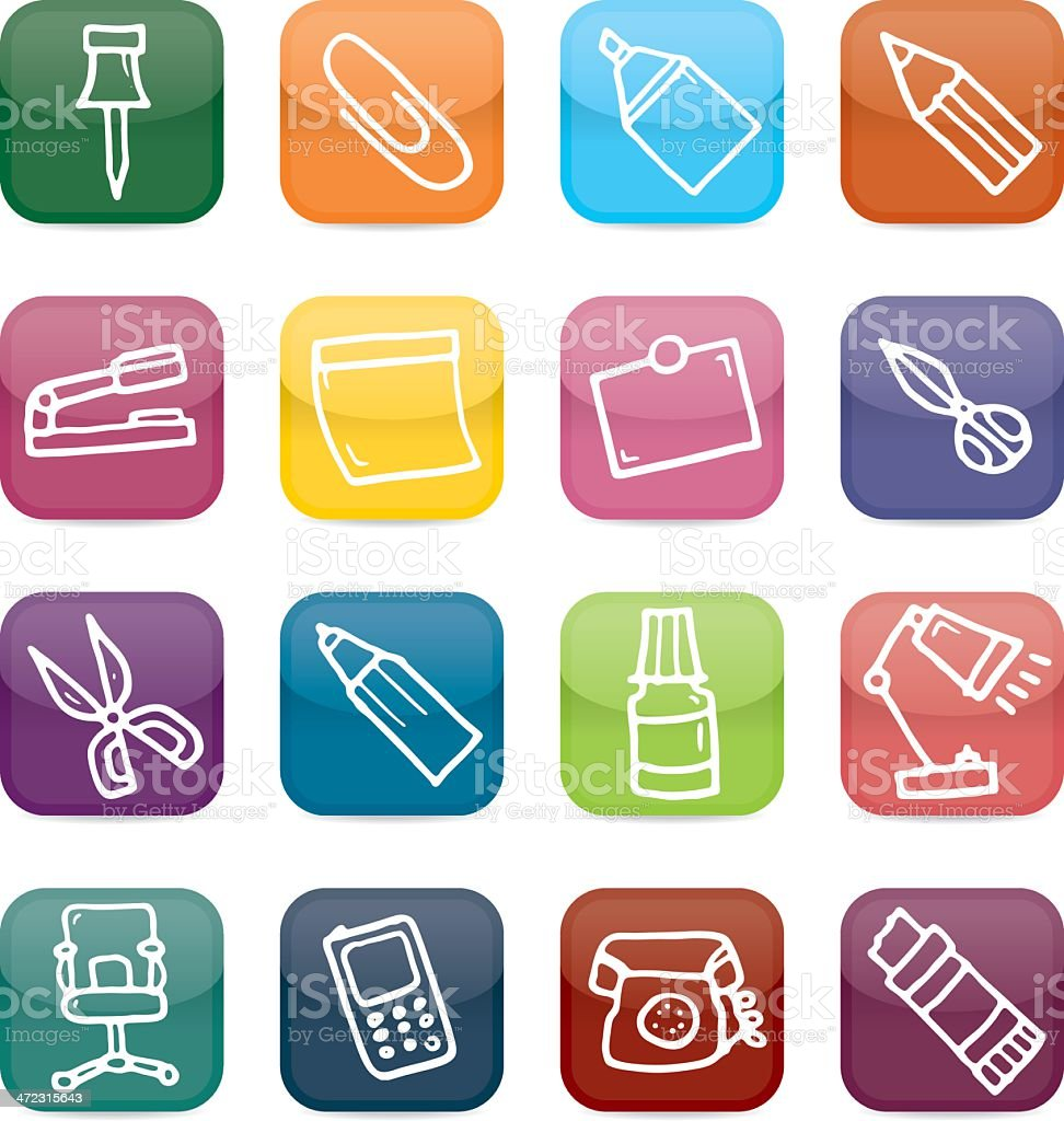 Office equipment icon set royalty-free stock vector art