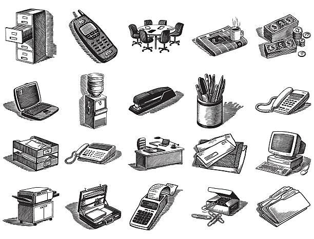 büroausstattung - stiftehalter stock-grafiken, -clipart, -cartoons und -symbole