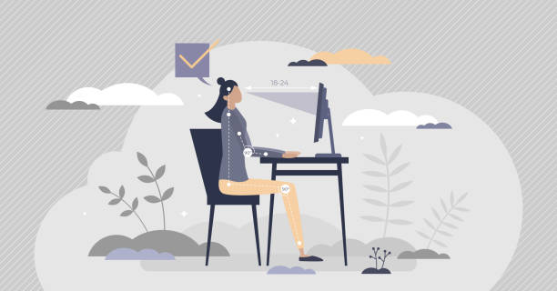 Office ergonomics for correct and healthy sitting posture tiny person concept vector art illustration