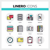 Line icons set of office essential tools, business supplies. Modern color flat design linear pictogram collection. Outline vector concept of mono stroke symbol pack. Premium quality web graphics material.