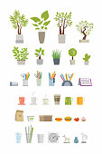 Office Essentials - modern color vector flat icons set. Room trees, plants, cactus, vase, note, sticker, pencil, pen, scissors, calendar, organizer, coffee mug, cup, hamburger, tea, trash can, darts