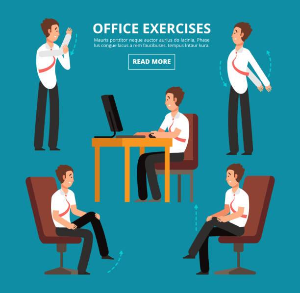 Office exercises at desk. Diagram for health employees vector illustration vector art illustration