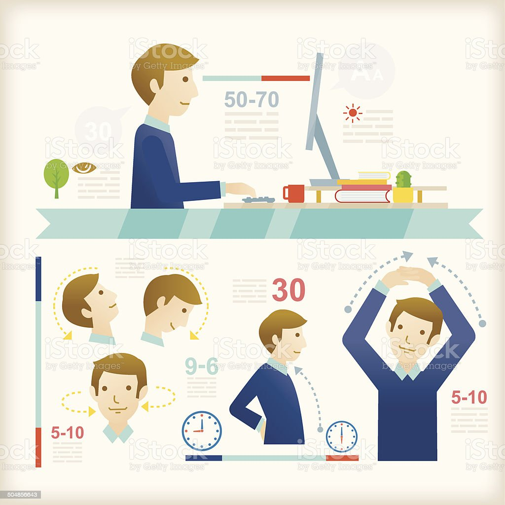 Office Exercises vector art illustration