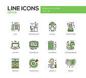 Office - flat design line icons set