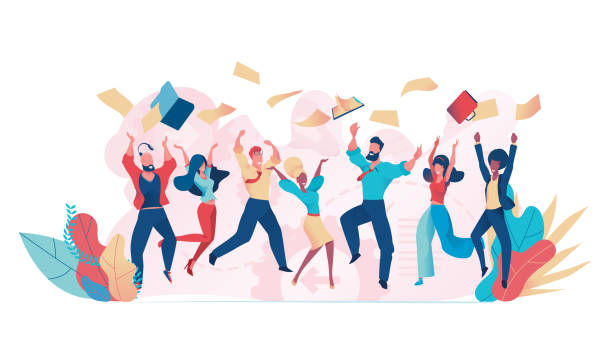 Office fun. Happy office workers jumping up Jumping business people vector. Office fun. Happy office workers jumping up excitement stock illustrations