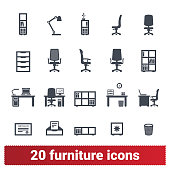 Furniture and accessories icons. Office furnishing, private workplace and workspace illustrations. Vector collection isolated on white background.