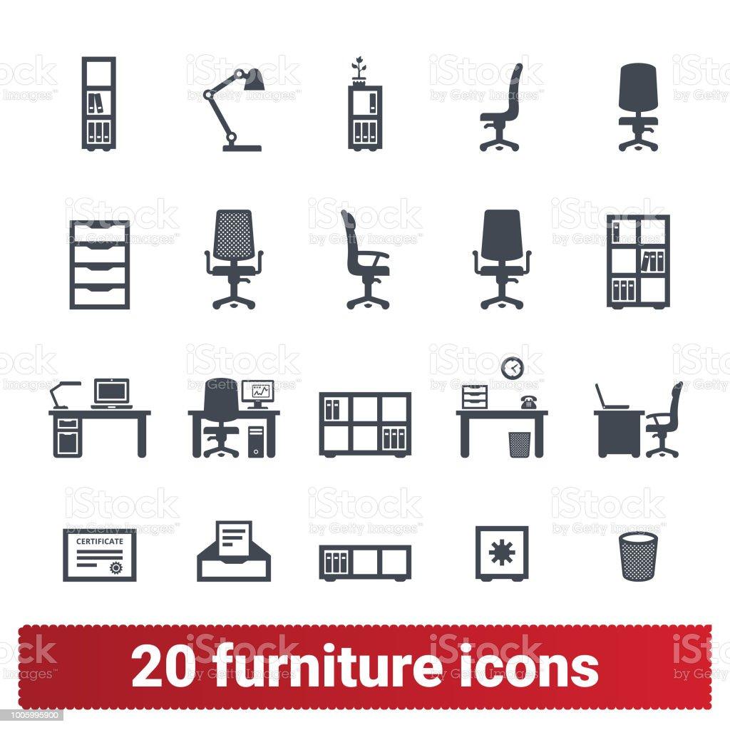 Büromöbel und Accessoires die Symbolsammlung – Vektorgrafik