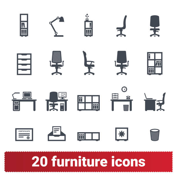 ilustrações de stock, clip art, desenhos animados e ícones de office furniture and accessories icons collection - chair