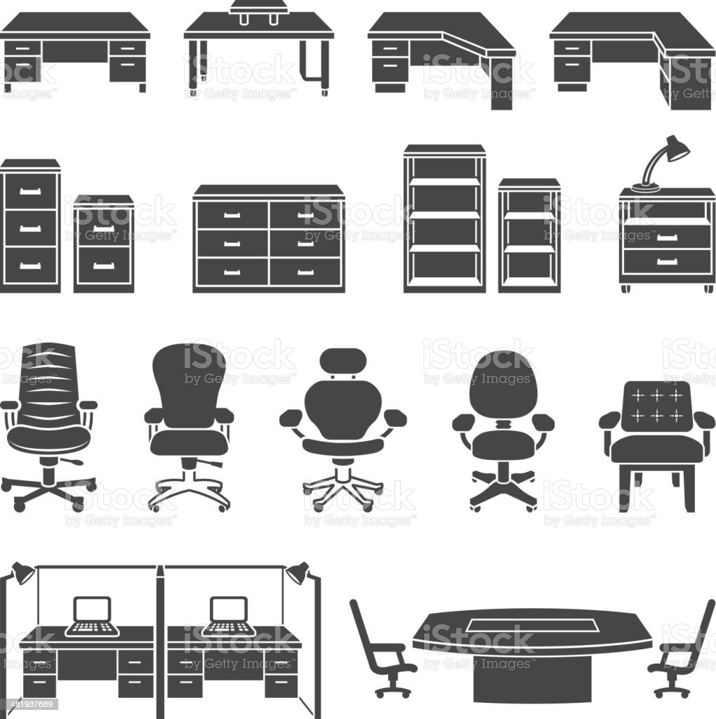 Office Furniture black & white royalty free vector icon set vector art illustration