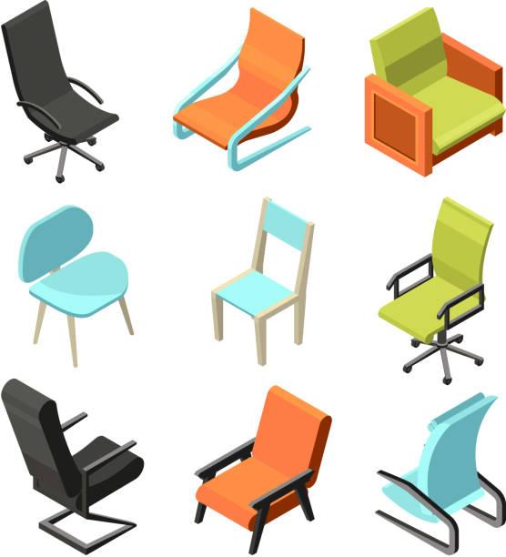 möbel für das büro. unterschiedliche stühle und sessel aus leder. isometrische bilder - stuhllehnen stock-grafiken, -clipart, -cartoons und -symbole
