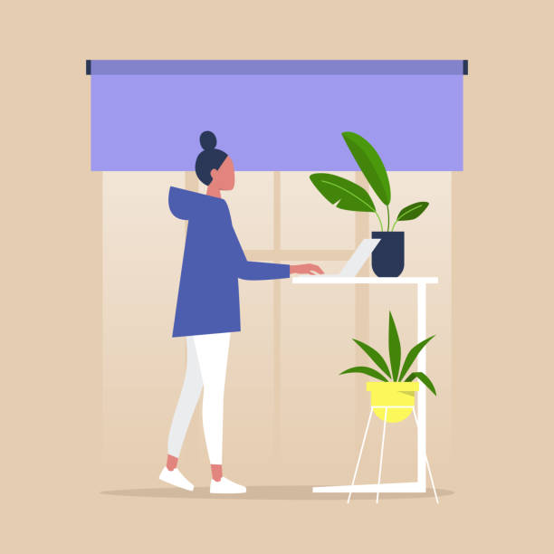 Office furniture, female standing character working at the adjustable desk, millennial lifestyle Office furniture, female standing character working at the adjustable desk, millennial lifestyle posture stock illustrations