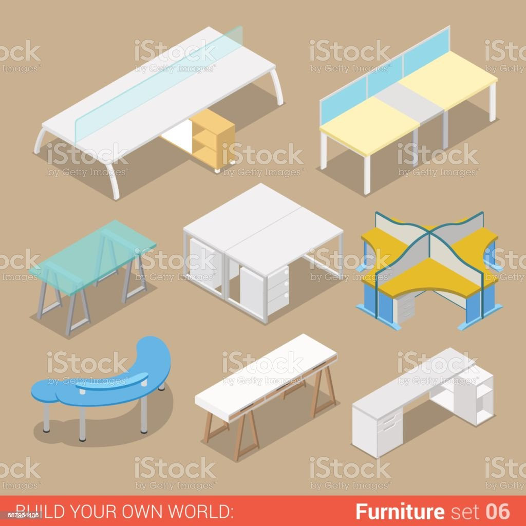 isometric office furniture vector collection. Office Furniture Set 06 Work Table Two Four Seat Element Flat 3d Isometry Isometric Concept Web Vector Collection N