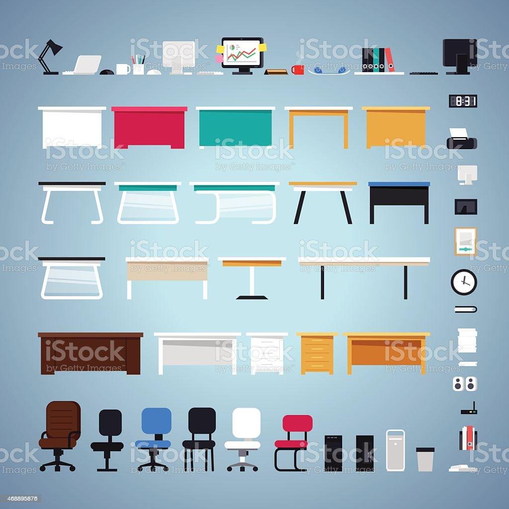 Set di mobili per ufficio immagini vettoriali stock e for Stock mobili ufficio