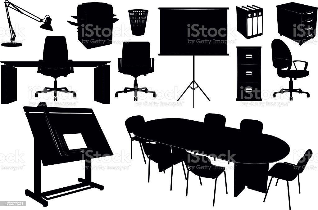 Siluetas De Muebles De Oficina - Arte vectorial de stock y más ...