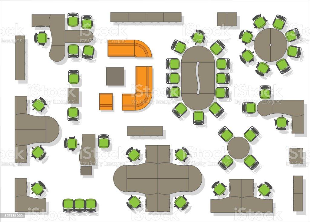 Vista superior de mobili rio de escrit rio arte vetorial for Plano b mobilia