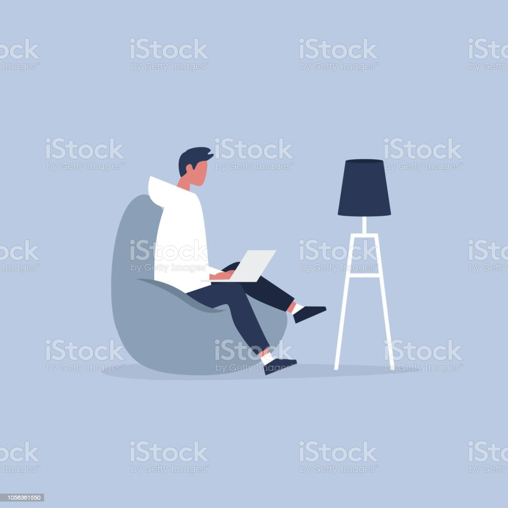 Office furniture. Young manager sitting on the bean bag chair. Daily life. Flat editable vector illustration, clip art vector art illustration