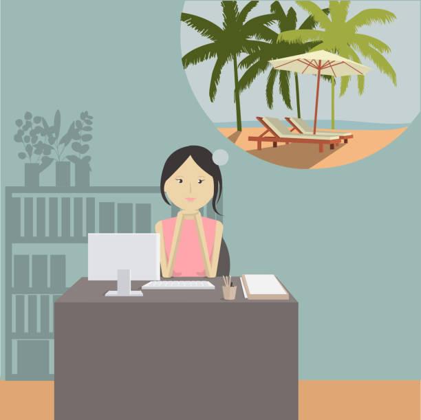 illustrazioni stock, clip art, cartoni animati e icone di tendenza di la ragazza dell'ufficio sogna il mare. in attesa del viaggio. - ritratto in ufficio