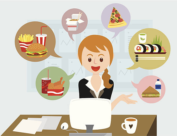 office girl with lunch ideas office girl is thinking the ideas for lunch. female sandwich stock illustrations