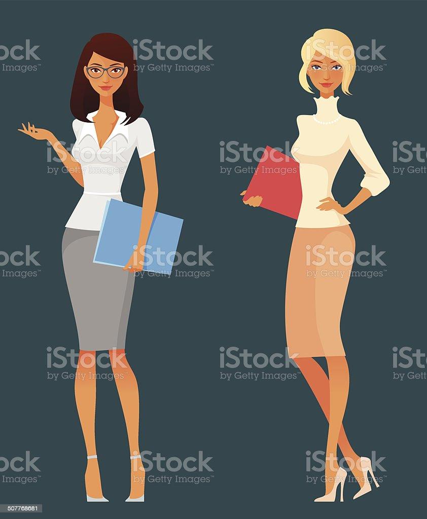 Büro Mädchen in smart casual Mode – Vektorgrafik