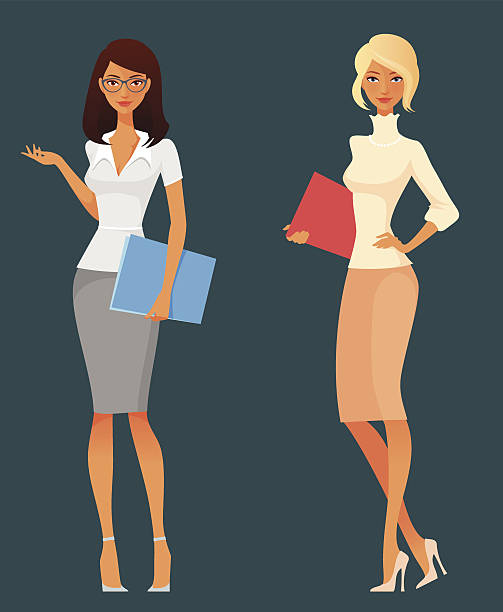 office girls in smart casual fashion - business casual fashion stock illustrations