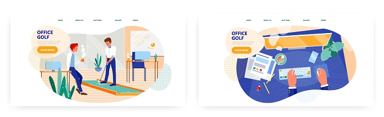 Office golf landing page design, website banner vector template set. Business people playing mini golf during the rest.