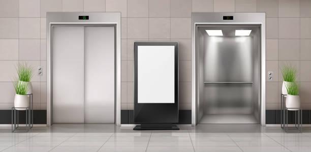 illustrazioni stock, clip art, cartoni animati e icone di tendenza di corridoio per uffici con ascensore e cartellone pubblicitario - ascensore
