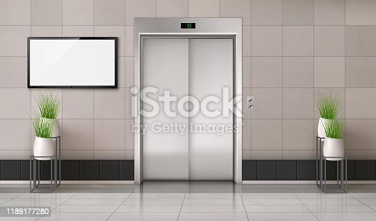 Office hallway with closed elevator door and TV screen on the wall. Vector realistic interior with lift, plants in white pots and blank computer monitor display