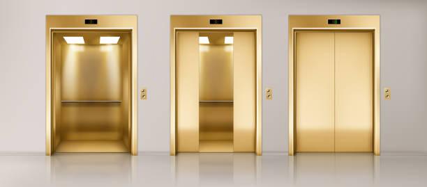 illustrazioni stock, clip art, cartoni animati e icone di tendenza di corridoio ufficio con ascensori dorati - ascensore