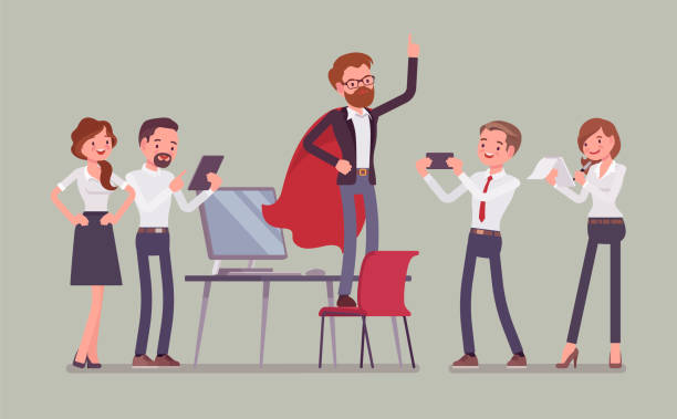 Office hero admired by his colleagues vector art illustration
